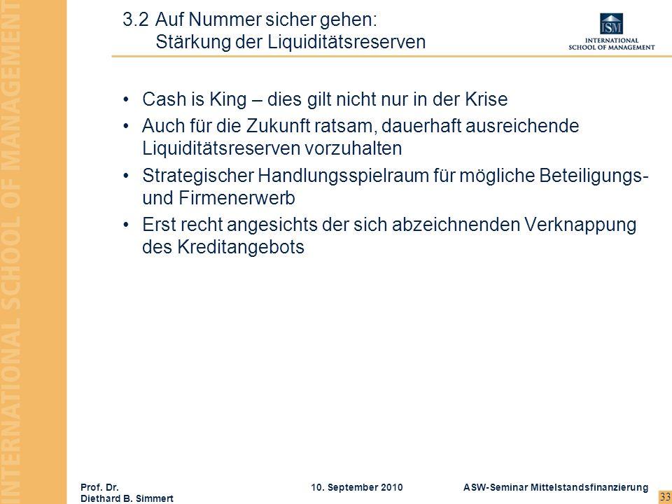 Prof. Dr. Diethard B. Simmert ASW-Seminar Mittelstandsfinanzierung10. September 2010 33 Cash is King – dies gilt nicht nur in der Krise Auch für die Z