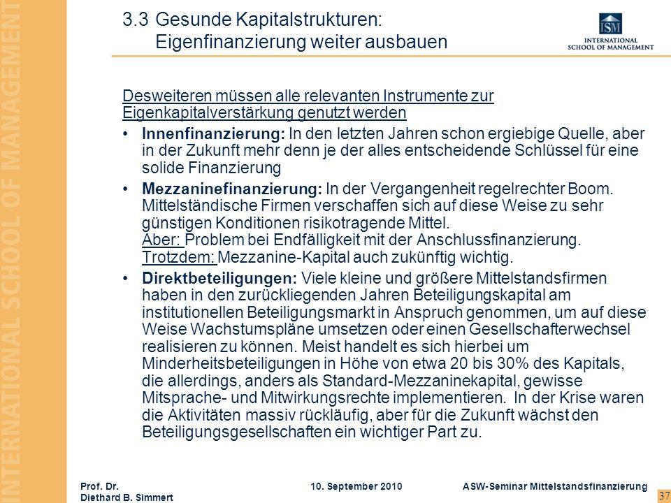 Prof. Dr. Diethard B. Simmert ASW-Seminar Mittelstandsfinanzierung10. September 2010 37 Desweiteren müssen alle relevanten Instrumente zur Eigenkapita