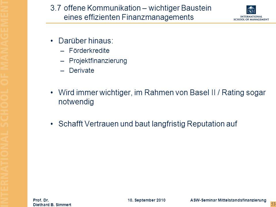 Prof. Dr. Diethard B. Simmert ASW-Seminar Mittelstandsfinanzierung10. September 2010 53 Darüber hinaus: –Förderkredite –Projektfinanzierung –Derivate
