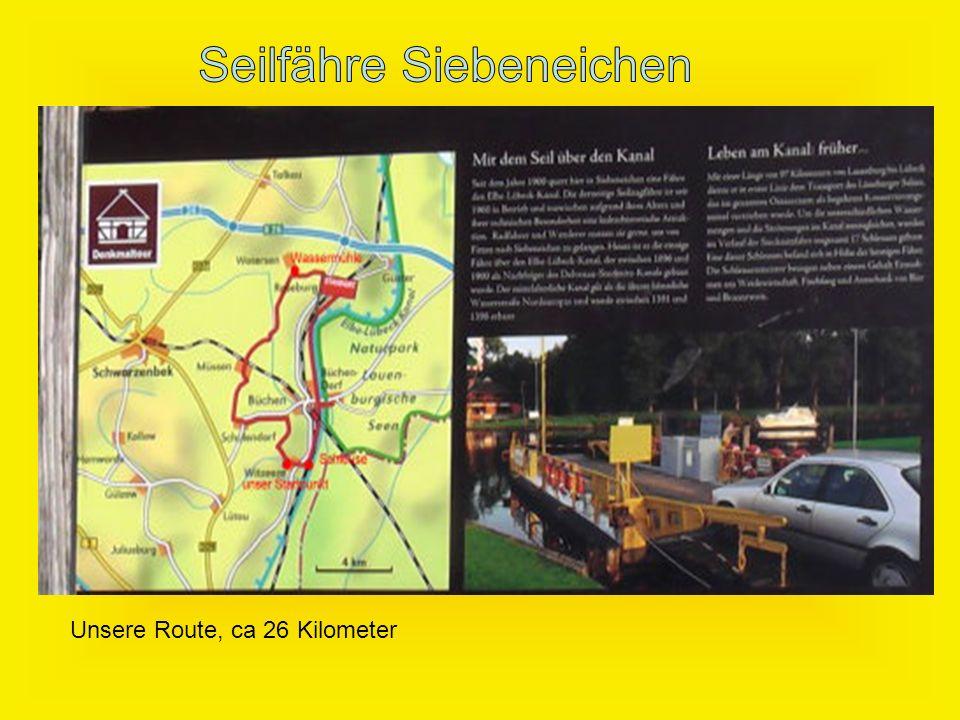 Unsere Route, ca 26 Kilometer