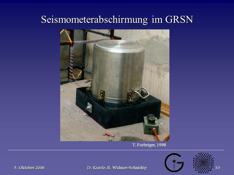 5. Oktober 2006D. Kurrle, R. Widmer-Schnidrig10 Seismometerabschirmung im GRSN T. Forbriger, 1998