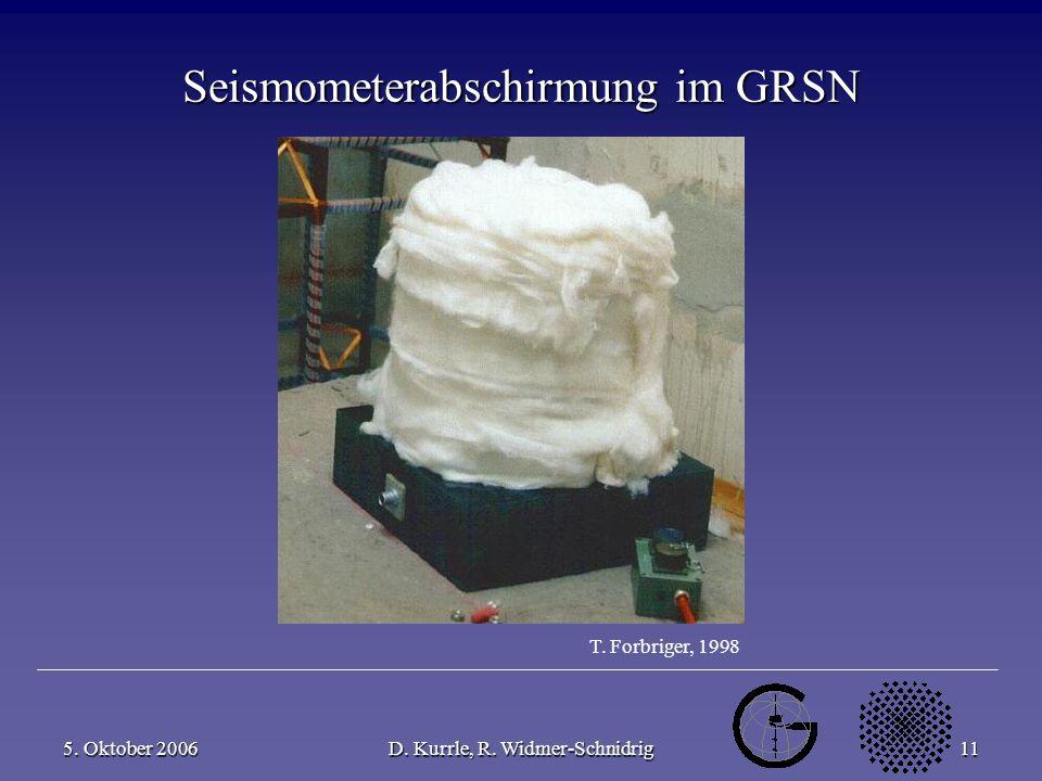 5. Oktober 2006D. Kurrle, R. Widmer-Schnidrig11 Seismometerabschirmung im GRSN T. Forbriger, 1998