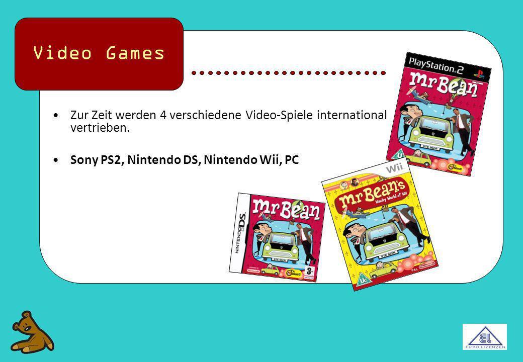 Zur Zeit werden 4 verschiedene Video-Spiele international vertrieben. Sony PS2, Nintendo DS, Nintendo Wii, PC Video Games