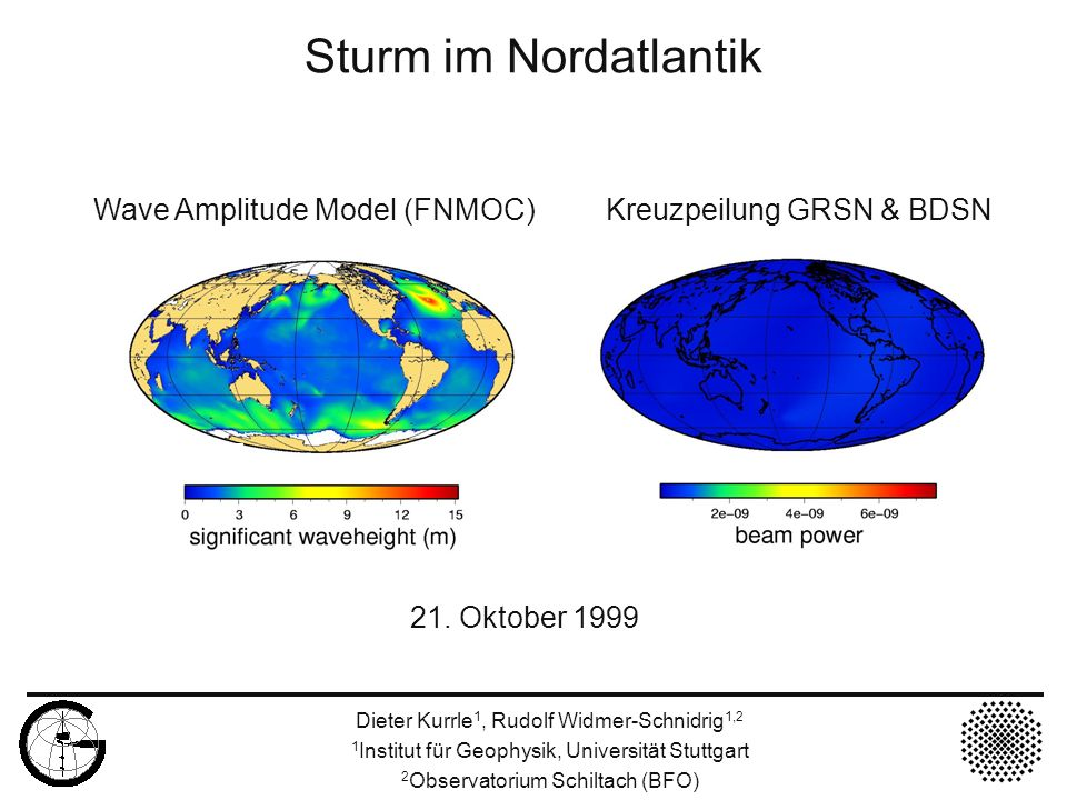 21. Oktober 1999 Sturm im Nordatlantik Wave Amplitude Model (FNMOC) Kreuzpeilung GRSN & BDSN Dieter Kurrle 1, Rudolf Widmer-Schnidrig 1,2 1 Institut f