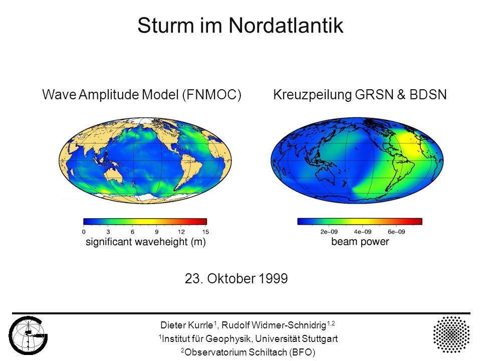 23. Oktober 1999 Sturm im Nordatlantik Wave Amplitude Model (FNMOC) Kreuzpeilung GRSN & BDSN Dieter Kurrle 1, Rudolf Widmer-Schnidrig 1,2 1 Institut f