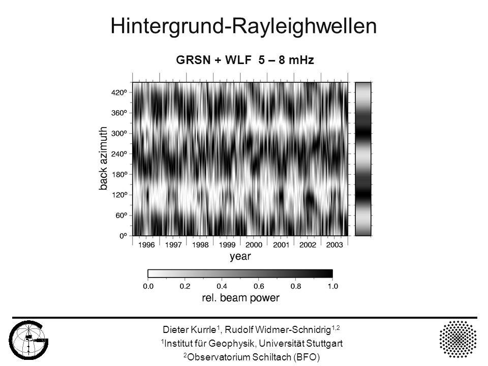 Hintergrund-Rayleighwellen Dieter Kurrle 1, Rudolf Widmer-Schnidrig 1,2 1 Institut für Geophysik, Universität Stuttgart 2 Observatorium Schiltach (BFO