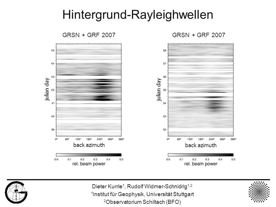 Anregung von Rayleighwellen Dieter Kurrle 1, Rudolf Widmer-Schnidrig 1,2 1 Institut für Geophysik, Universität Stuttgart 2 Observatorium Schiltach (BFO) k Dünung Infragravity- Wellen Nichtlineare Prozesse Rayleigh- Wellen Überlagerung 1.Entstehung von Infragravity-Wellen (T>20 s) aus der Dünung (T<20 s) durch nichtlineare Prozesse (z.B.