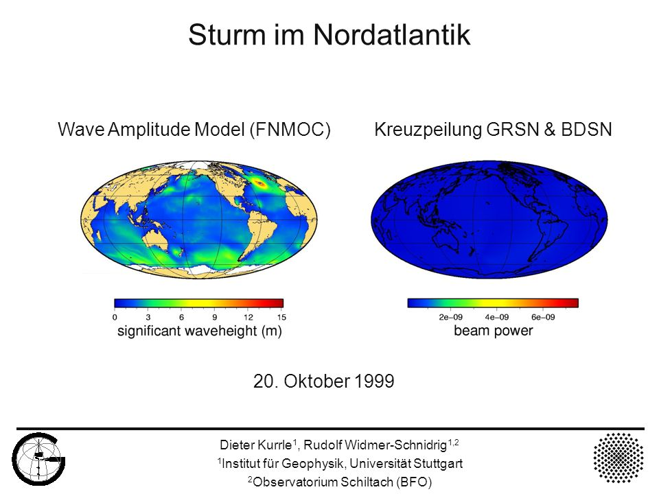 Sturm im Nordatlantik 20. Oktober 1999 Wave Amplitude Model (FNMOC) Kreuzpeilung GRSN & BDSN Dieter Kurrle 1, Rudolf Widmer-Schnidrig 1,2 1 Institut f