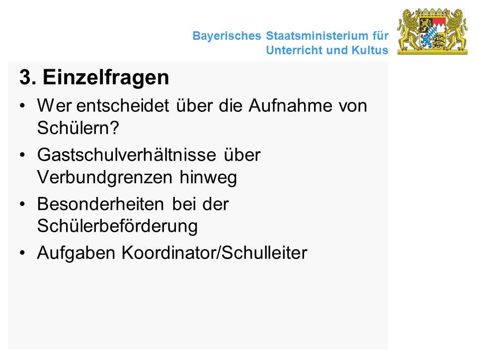 Bayerisches Staatsministerium für Unterricht und Kultus 3. Einzelfragen Wer entscheidet über die Aufnahme von Schülern? Gastschulverhältnisse über Ver