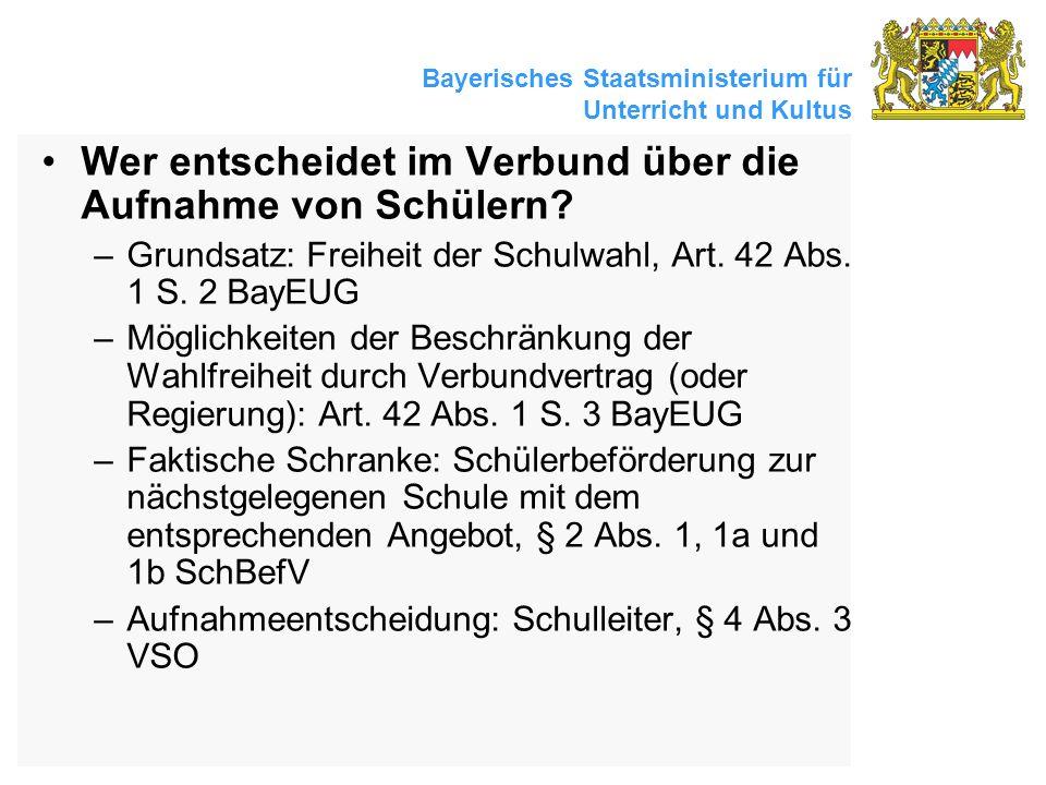 Bayerisches Staatsministerium für Unterricht und Kultus Wer entscheidet im Verbund über die Aufnahme von Schülern? –Grundsatz: Freiheit der Schulwahl,