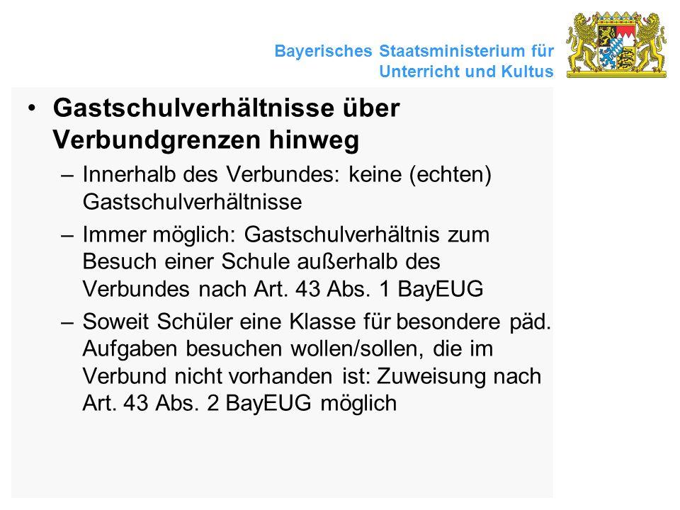 Bayerisches Staatsministerium für Unterricht und Kultus Gastschulverhältnisse über Verbundgrenzen hinweg –Innerhalb des Verbundes: keine (echten) Gast