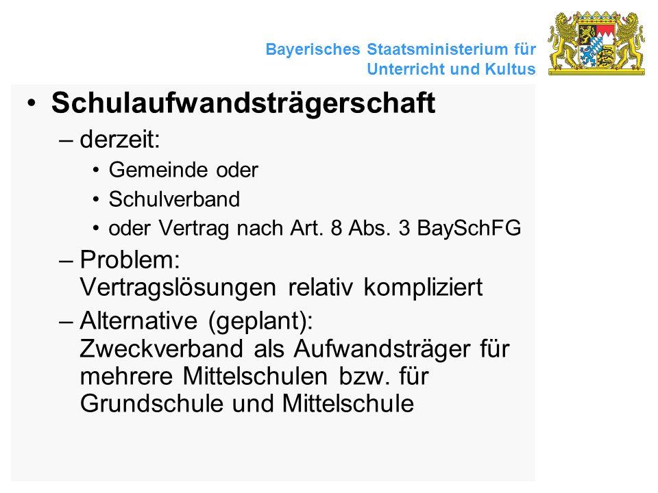 Bayerisches Staatsministerium für Unterricht und Kultus Schulaufwandsträgerschaft –derzeit: Gemeinde oder Schulverband oder Vertrag nach Art. 8 Abs. 3