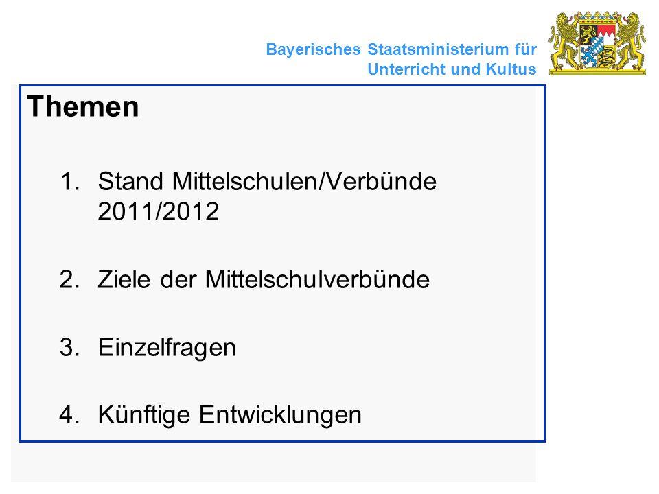 Bayerisches Staatsministerium für Unterricht und Kultus Themen 1.Stand Mittelschulen/Verbünde 2011/2012 2.Ziele der Mittelschulverbünde 3.Einzelfragen