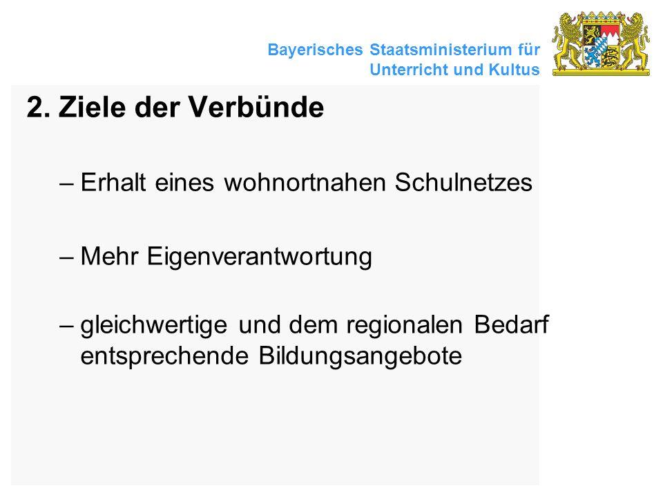 Bayerisches Staatsministerium für Unterricht und Kultus 2. Ziele der Verbünde –Erhalt eines wohnortnahen Schulnetzes –Mehr Eigenverantwortung –gleichw