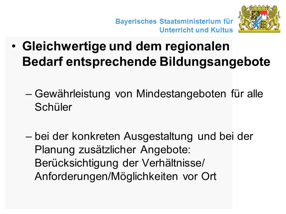 Bayerisches Staatsministerium für Unterricht und Kultus Gleichwertige und dem regionalen Bedarf entsprechende Bildungsangebote –Gewährleistung von Min