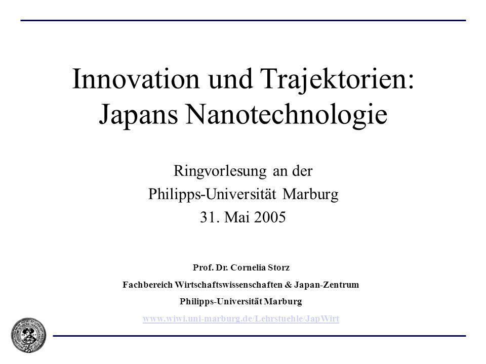 Innovation und Trajektorien: Japans Nanotechnologie Ringvorlesung an der Philipps-Universität Marburg 31. Mai 2005 Prof. Dr. Cornelia Storz Fachbereic