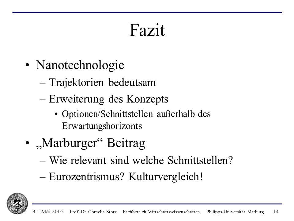 31. Mai 2005 Prof. Dr. Cornelia Storz Fachbereich Wirtschaftswissenschaften Philipps-Universität Marburg 14 Fazit Nanotechnologie –Trajektorien bedeut