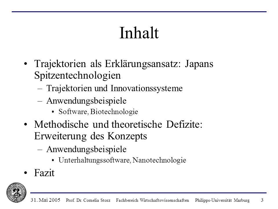 31. Mai 2005 Prof. Dr. Cornelia Storz Fachbereich Wirtschaftswissenschaften Philipps-Universität Marburg 3 Inhalt Trajektorien als Erklärungsansatz: J