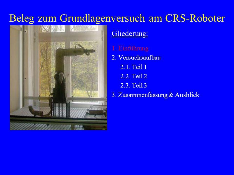 Beleg zum Grundlagenversuch am CRS-Roboter Gliederung: 1. Einführung 2. Versuchsaufbau 2.1. Teil 1 2.2. Teil 2 2.3. Teil 3 3. Zusammenfassung & Ausbli