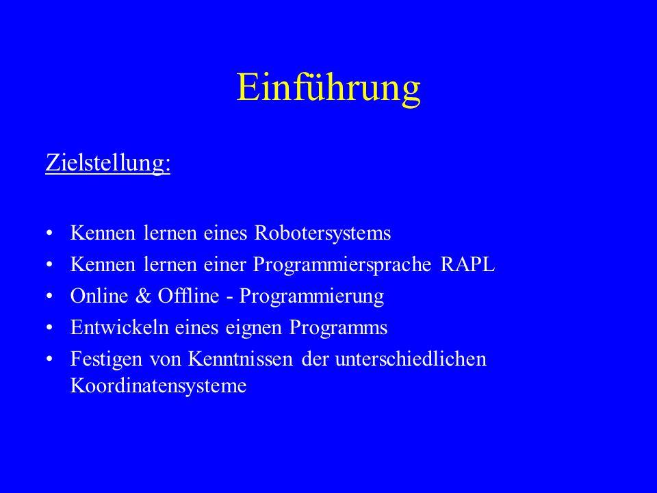 Einführung Zielstellung: Kennen lernen eines Robotersystems Kennen lernen einer Programmiersprache RAPL Online & Offline - Programmierung Entwickeln e