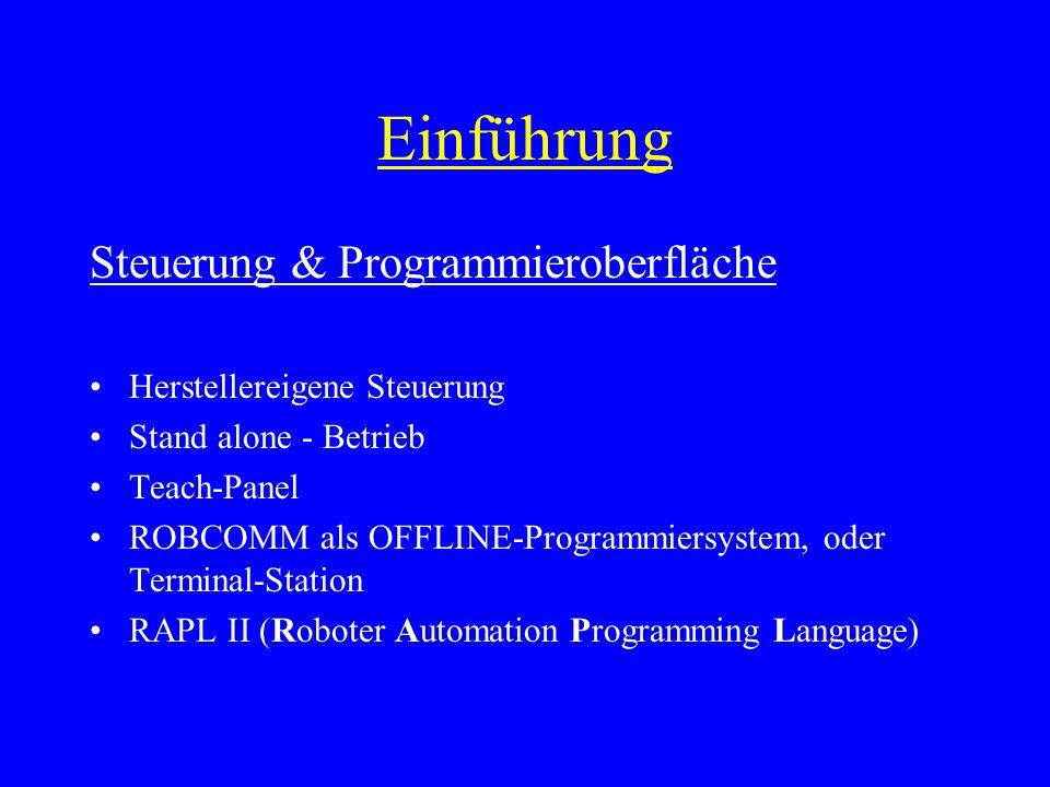 Einführung Steuerung & Programmieroberfläche Herstellereigene Steuerung Stand alone - Betrieb Teach-Panel ROBCOMM als OFFLINE-Programmiersystem, oder