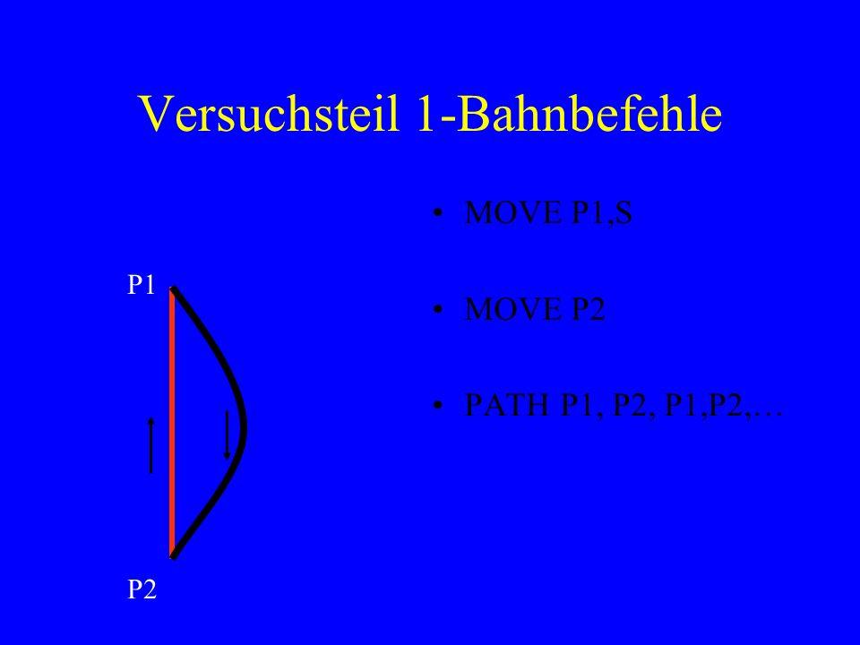 Versuchsteil 1-Bahnbefehle MOVE P1,S MOVE P2 PATH P1, P2, P1,P2,… P1 P2