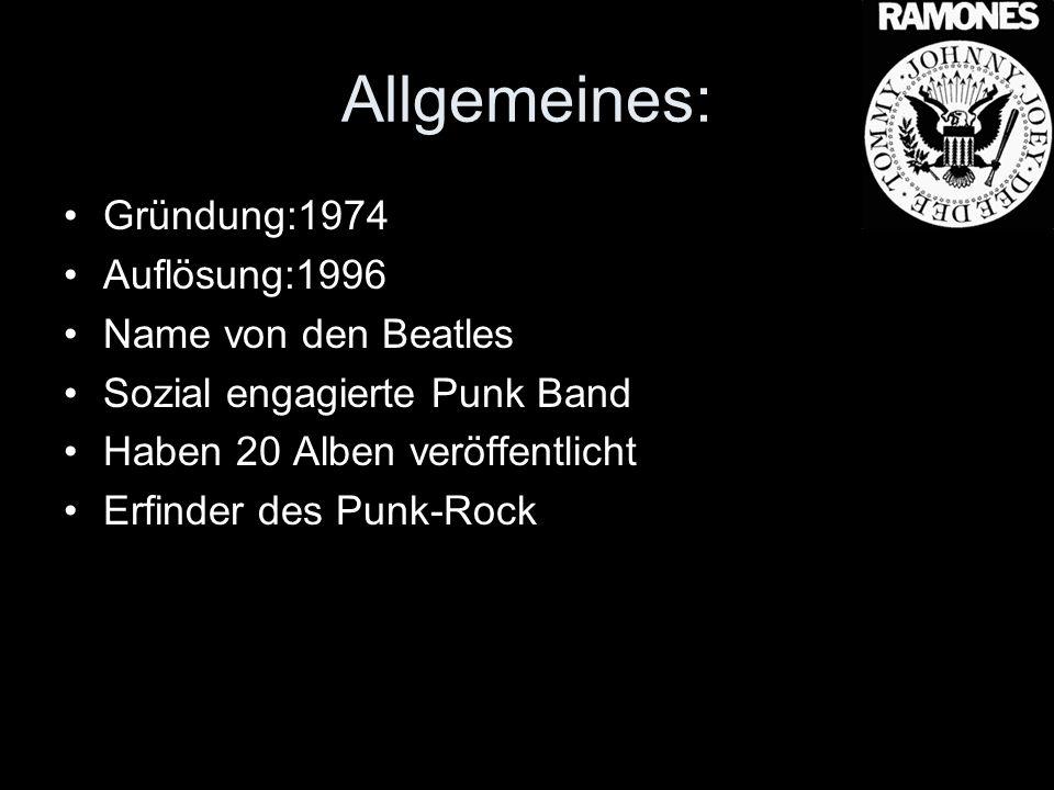 Allgemeines: Gründung:1974 Auflösung:1996 Name von den Beatles Sozial engagierte Punk Band Haben 20 Alben veröffentlicht Erfinder des Punk-Rock