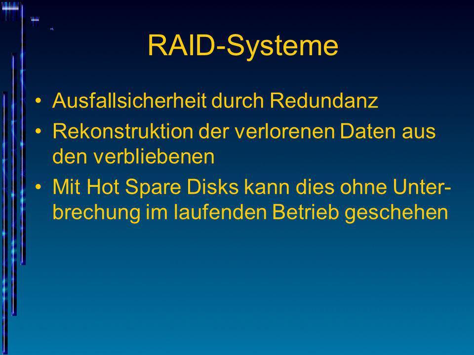 RAID-Systeme Ausfallsicherheit durch Redundanz Rekonstruktion der verlorenen Daten aus den verbliebenen Mit Hot Spare Disks kann dies ohne Unter- brec