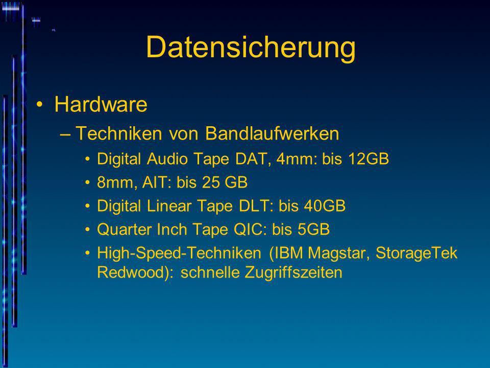Datensicherung Hardware –Techniken von Bandlaufwerken Digital Audio Tape DAT, 4mm: bis 12GB 8mm, AIT: bis 25 GB Digital Linear Tape DLT: bis 40GB Quar