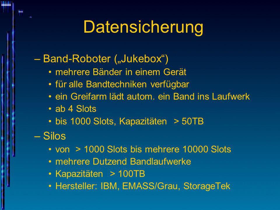 Datensicherung –Band-Roboter (Jukebox) mehrere Bänder in einem Gerät für alle Bandtechniken verfügbar ein Greifarm lädt autom. ein Band ins Laufwerk a