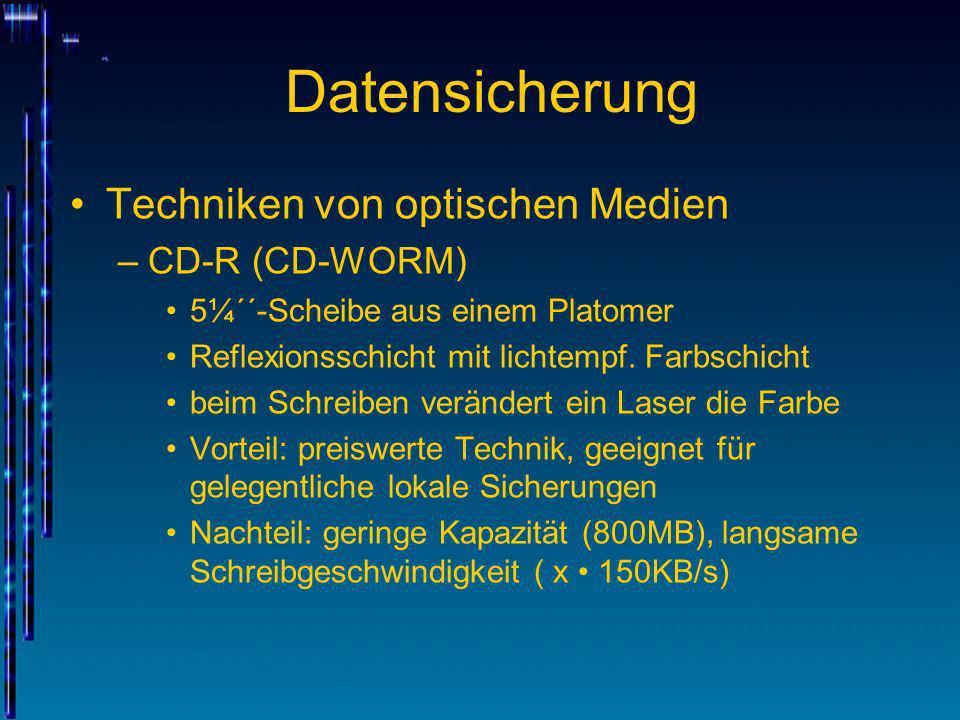 Datensicherung Techniken von optischen Medien –CD-R (CD-WORM) 5¼´´-Scheibe aus einem Platomer Reflexionsschicht mit lichtempf. Farbschicht beim Schrei
