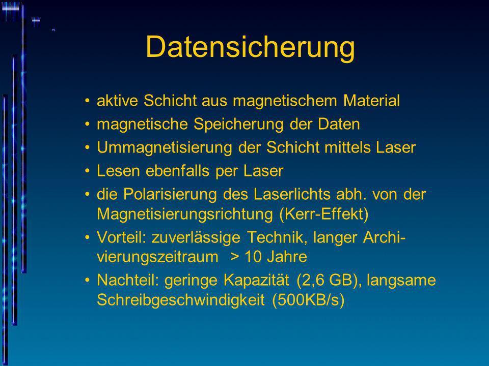 Datensicherung aktive Schicht aus magnetischem Material magnetische Speicherung der Daten Ummagnetisierung der Schicht mittels Laser Lesen ebenfalls p
