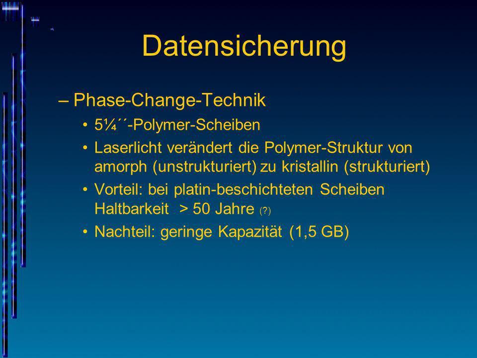 Datensicherung –Phase-Change-Technik 5¼´´-Polymer-Scheiben Laserlicht verändert die Polymer-Struktur von amorph (unstrukturiert) zu kristallin (strukt