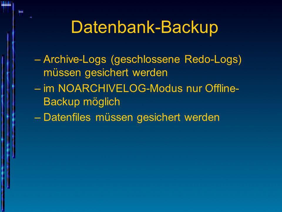 Datenbank-Backup –Archive-Logs (geschlossene Redo-Logs) müssen gesichert werden –im NOARCHIVELOG-Modus nur Offline- Backup möglich –Datenfiles müssen