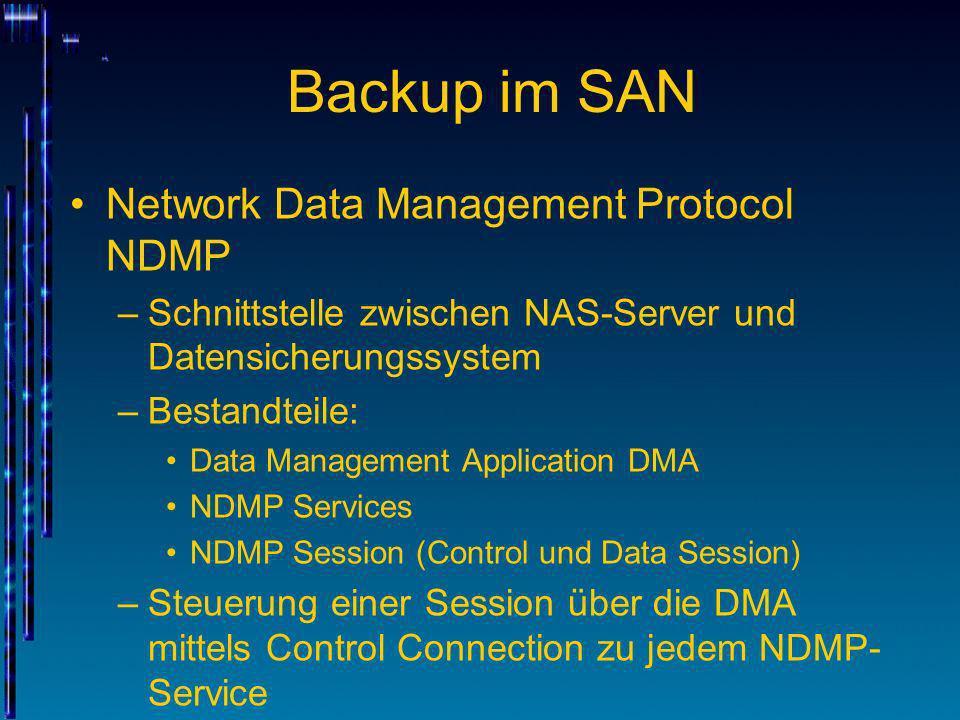 Backup im SAN Network Data Management Protocol NDMP –Schnittstelle zwischen NAS-Server und Datensicherungssystem –Bestandteile: Data Management Applic