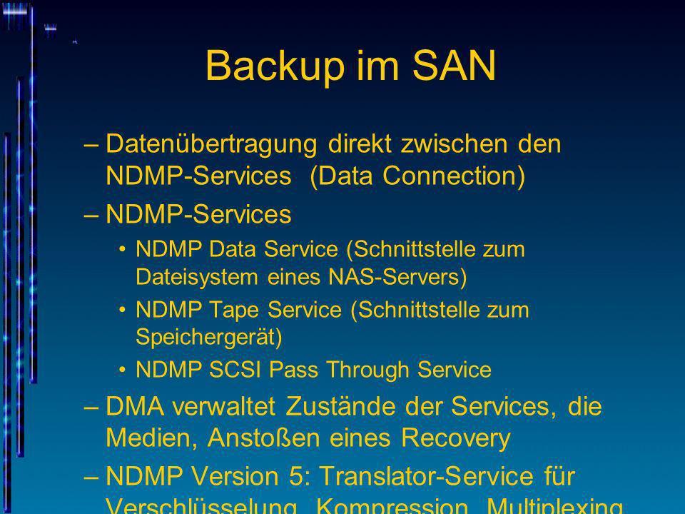 Backup im SAN –Datenübertragung direkt zwischen den NDMP-Services (Data Connection) –NDMP-Services NDMP Data Service (Schnittstelle zum Dateisystem ei
