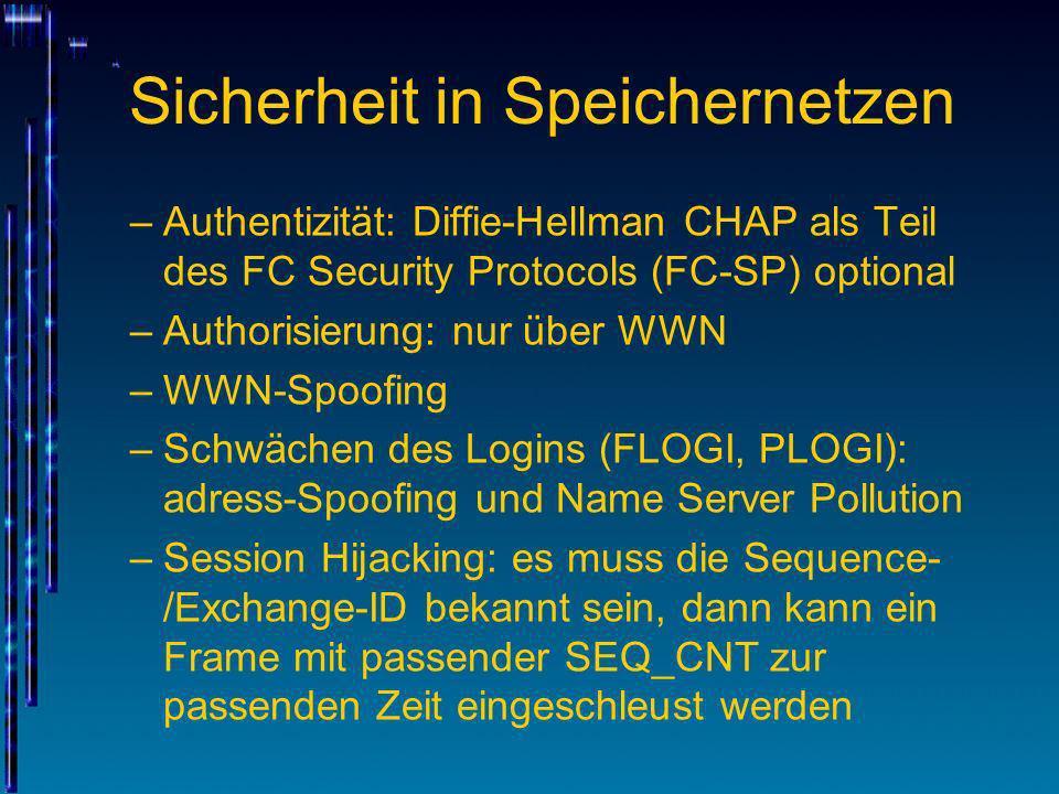 Sicherheit in Speichernetzen –Authentizität: Diffie-Hellman CHAP als Teil des FC Security Protocols (FC-SP) optional –Authorisierung: nur über WWN –WW