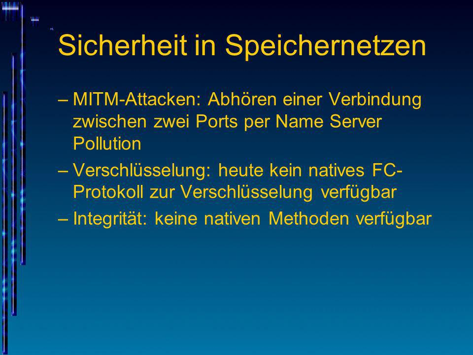 Sicherheit in Speichernetzen –MITM-Attacken: Abhören einer Verbindung zwischen zwei Ports per Name Server Pollution –Verschlüsselung: heute kein nativ