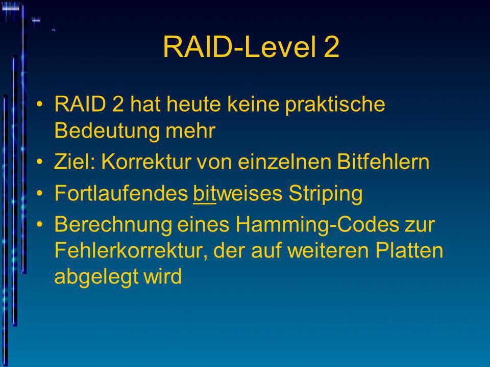 RAID-Level 2 RAID 2 hat heute keine praktische Bedeutung mehr Ziel: Korrektur von einzelnen Bitfehlern Fortlaufendes bitweises Striping Berechnung ein