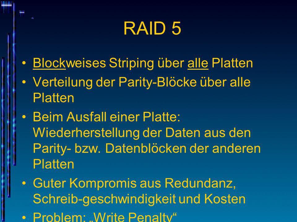 RAID 5 Blockweises Striping über alle Platten Verteilung der Parity-Blöcke über alle Platten Beim Ausfall einer Platte: Wiederherstellung der Daten au
