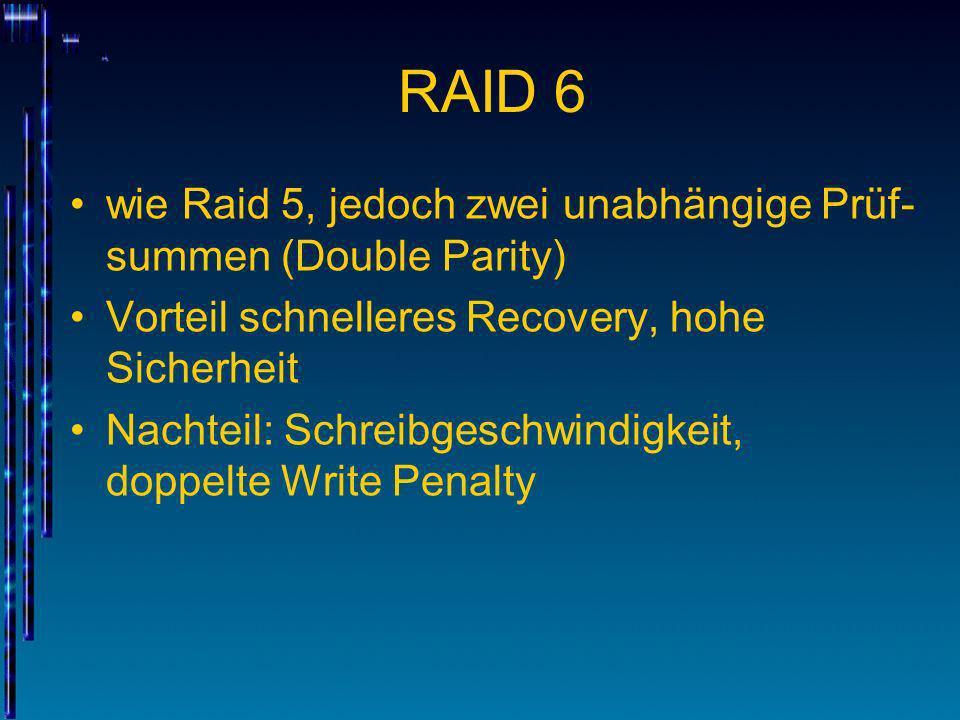 RAID 6 wie Raid 5, jedoch zwei unabhängige Prüf- summen (Double Parity) Vorteil schnelleres Recovery, hohe Sicherheit Nachteil: Schreibgeschwindigkeit