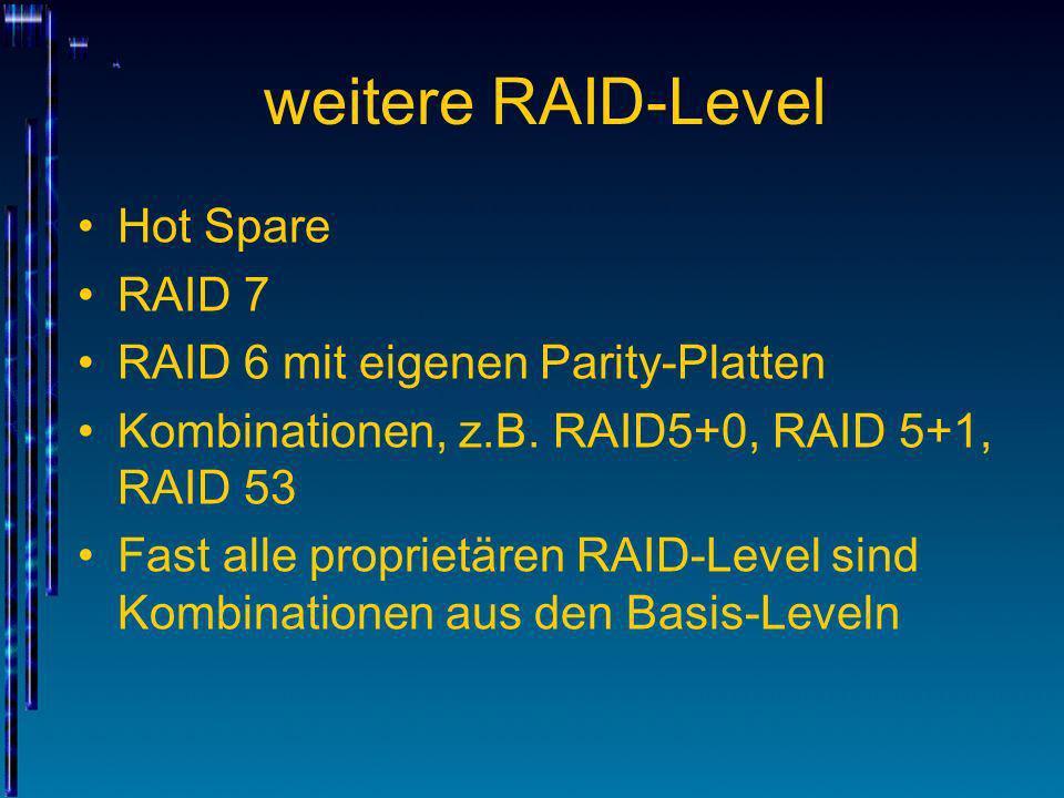 weitere RAID-Level Hot Spare RAID 7 RAID 6 mit eigenen Parity-Platten Kombinationen, z.B. RAID5+0, RAID 5+1, RAID 53 Fast alle proprietären RAID-Level