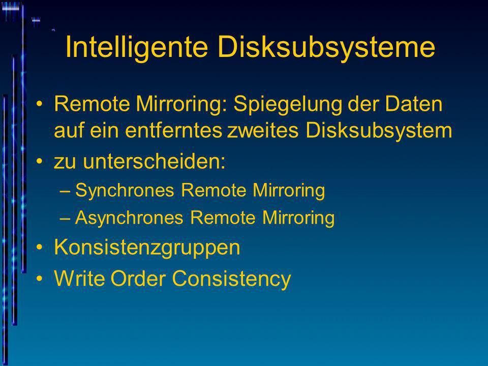 Intelligente Disksubsysteme Remote Mirroring: Spiegelung der Daten auf ein entferntes zweites Disksubsystem zu unterscheiden: –Synchrones Remote Mirro