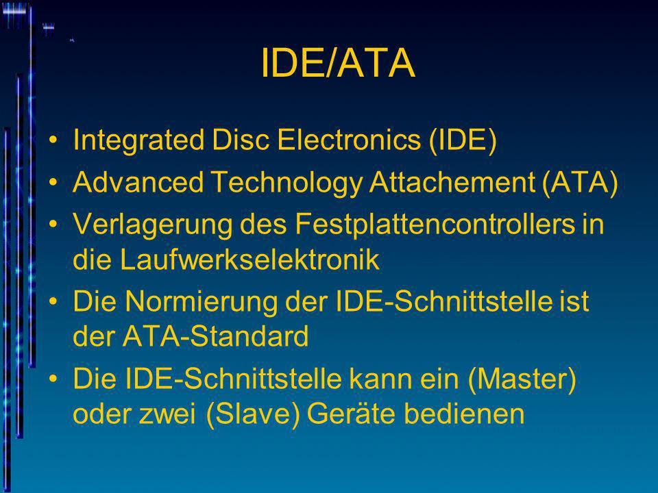 IDE/ATA Integrated Disc Electronics (IDE) Advanced Technology Attachement (ATA) Verlagerung des Festplattencontrollers in die Laufwerkselektronik Die