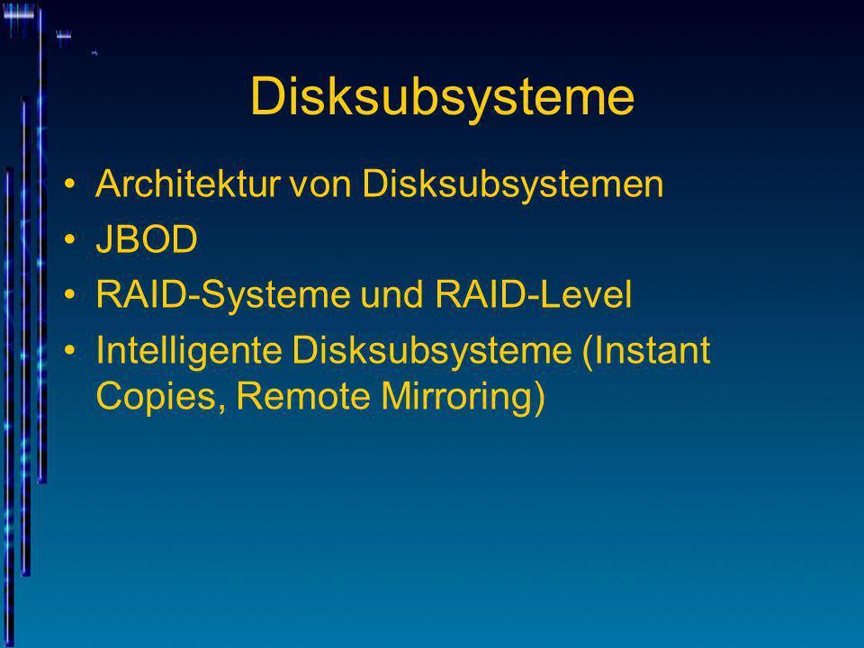 Disksubsysteme Architektur von Disksubsystemen JBOD RAID-Systeme und RAID-Level Intelligente Disksubsysteme (Instant Copies, Remote Mirroring)