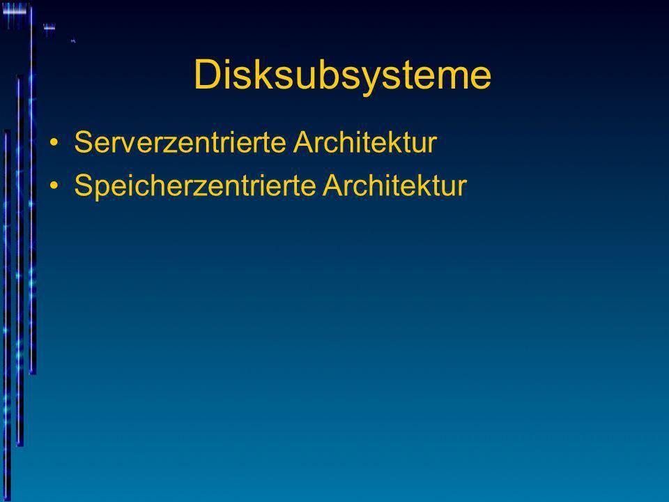 Disksubsysteme Der interne Aufbau eines Disksubsystems bleibt dem angeschlossenen Rechner verborgen Anschlüsse (Ports) z.B.