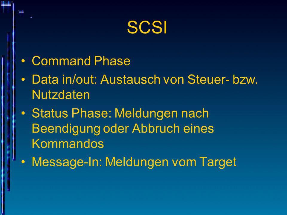 SCSI Command Phase Data in/out: Austausch von Steuer- bzw. Nutzdaten Status Phase: Meldungen nach Beendigung oder Abbruch eines Kommandos Message-In: