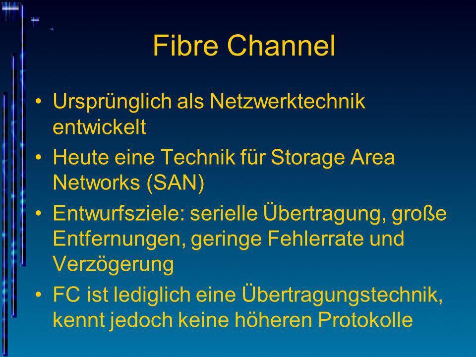 Fibre Channel Ursprünglich als Netzwerktechnik entwickelt Heute eine Technik für Storage Area Networks (SAN) Entwurfsziele: serielle Übertragung, groß