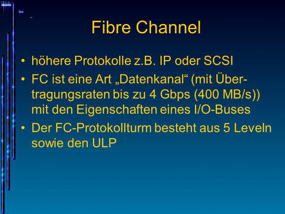 Fibre Channel höhere Protokolle z.B. IP oder SCSI FC ist eine Art Datenkanal (mit Über- tragungsraten bis zu 4 Gbps (400 MB/s)) mit den Eigenschaften