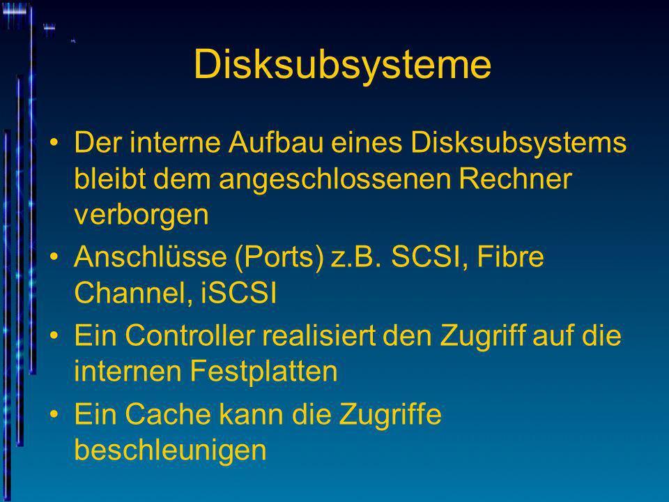 Disksubsysteme Der interne Aufbau eines Disksubsystems bleibt dem angeschlossenen Rechner verborgen Anschlüsse (Ports) z.B. SCSI, Fibre Channel, iSCSI